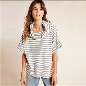 TLa Striped Short Sleeve Slouchy Cowl Neck Top Sm